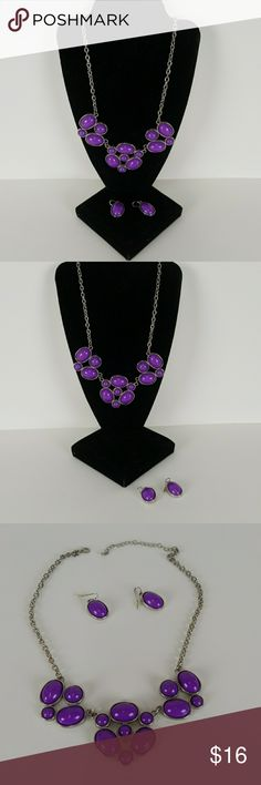 """Boutique Statement Necklace Boutique Statement Necklace. Size 20"""", adjustable to 16"""", purple,  matching earrings. Boutique Jewelry Necklaces"""