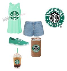 """""""Starbucks"""" by brodiefgf ❤ liked on Polyvore featuring Ally Fashion, Vans, vans, starbucks and mint"""