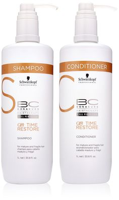 Schwarzkopf BC Time Restore Shampoo and Conditioner Liter Duo, 67.6 Ounce -- Read more details by clicking on the image. #hairhowto