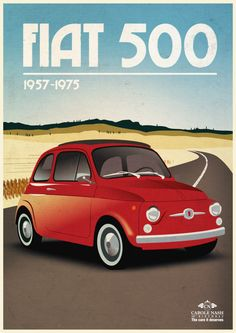 Insurance company Carole Nash has created a series of vintage-style car posters. The company says it carried out a poll to discover people's favourite classic cars from Great Britain, Germany, Italy and Japan. Fiat 500 Sport, Vintage Italian Posters, Fiat Spider, Fiat Cars, Italy Pictures, Car Posters, Commercial Vehicle, Ford, Old Cars