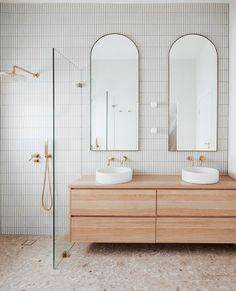 Laundry In Bathroom, Bathroom Renos, Bathroom Renovations, Small Bathroom, Floating Bathroom Vanities, Modern Bathroom Tile, Remodel Bathroom, Bathroom Ideas, Concrete Basin