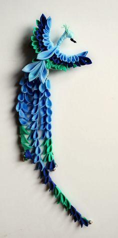 Peacock Tsumami Zaiku. Custom. by ~hanatsukuri on deviantART