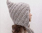 Knitting hat pattern - swirl pixie hat - adult pixie hood - Sandy Coastal Designs