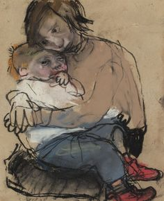 Joan Eardley Girl with child Tamara Lempicka, Francoise Gilot, Social Realism, Ap Studio Art, Popular Artists, Pastel Drawing, Portrait Art, Portraits, Life Drawing