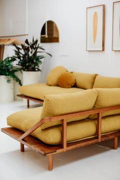 The l dreamer couch linen tasmanian blackwood pop scott workshop polstermbel polstermbel diyfurniturecouch diy furniture couch Decor, Furniture, Interior, Mustard Sofa, Diy Furniture Couch, Home Furniture, Home Decor, Couch Furniture, Couch