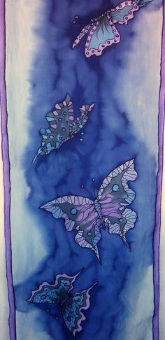 Hand Painted Silk Scarf Butterflies Silk Scarf Midnight Blue