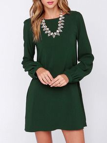 Army Green Long Sleeve Casual Dress US$14.99