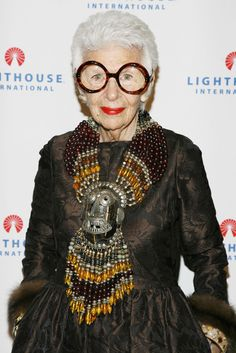 Iris Apfel's serious bling. I wish I had this confidence, especially at age 85. (Or maybe it IS because she's 85?)