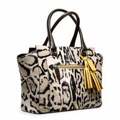NWT COACH COACH 21166 Legacy Ocelot Haircalf Candice Carryall HANDBAG tote bag $ #Coach #TotesShoppersCoachmediumcarryall