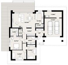 DOM.PL™ - Projekt domu TP Temida 2 CE - DOM TP1-26 - gotowy koszt budowy Bungalows, Prabhas Pics, Planer, House Plans, Sweet Home, Floor Plans, How To Plan, Projects, Dreams