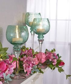 Drink in the illumination generated by the glow of this set of three crackle glass goblets by Valerie. Valerie Parr Hill, Crackle Glass, Tea Lights, Beautiful Homes, Wine Glass, Glow, Indoor, Presentation, Home Decor