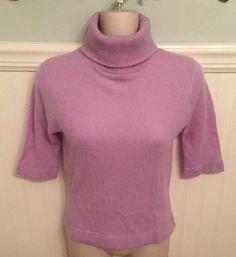 bebe Size XS 100% Cashmere Sweater Turtleneck Short Sleeve Lavender Purple EUC #bebe #TurtleneckMock
