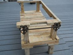 Reclaimed Pallet Wood Bench with Fleurdelis by FlipFlopRecycled, $275.00