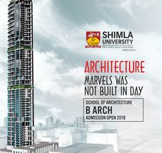 If creativity is your passion and you are looking for career in the field of Architecture, then join B.Arch. programme at Shimla University which has been approved by Council of Architecture, Government of India.  The government approved degree will help you in seeking jobs in public sector companies as well as recognized in the private sector for employment.  Explore more at http://bit.ly/2sFCz1Z or call at +91-9816222000, 18004198654 (Toll Free).