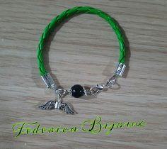 Federica Bijoux : Bracciale bambina verde scuro su coccu con perla o...