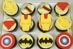 Our superhero themed cupcakes will bring the justice and the right amount of fun to any party. Themed Cupcakes, Birthday Cupcakes, Yummy Cupcakes, Mini Cupcakes, Fondant Cupcake Toppers, Custom Cupcakes, Bite Size, Serving Size, Corporate Events
