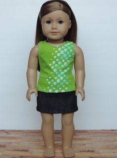 Black Denim Skirt American Girl Doll Clothes by HerDollEssentials