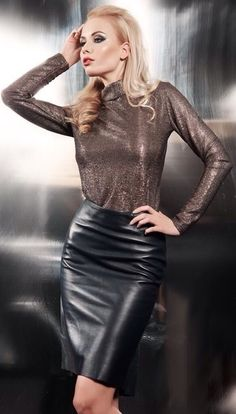Celebrities in HOT Leather Outfit - Djuff Black Leather Skirts, Leather Dresses, Leather Outfits, Sexy Skirt, Hot Outfits, Leather Fashion, Womens Fashion, Petite Fashion, Curvy Fashion