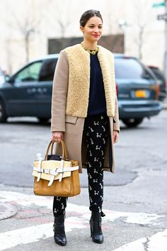 Maria Duenas Jacobs, Shearling Coat + Reed Krakoff bag