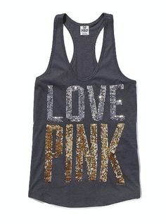 VS PINK Bling Yoga Tank | This would be perfect to wear with a cardigan and jeans or shorts in Italy! So cute and all cotton! | $32.50