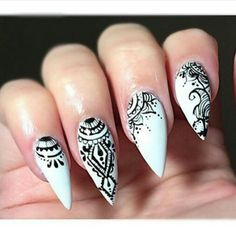 White & black stiletto nails
