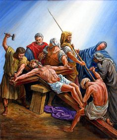Jesus Nailed To The Cross Painting - Jesus Nailed To The Cross Fine Art Print