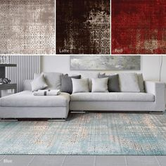 In blue for living or dining.   Nourison Karma Contemporary Rug (9'3 x 12'9)
