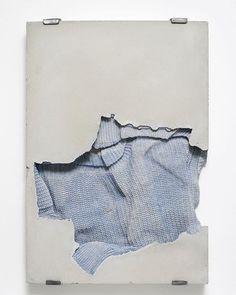 Marie Lund, Torso, 2015, concrete, cotton, 45 x 65 x 6cm #LBGarchive #MarieLund #torso #sweater @laurabartlettgallery