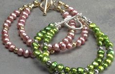 Two-strand pearl bracelet.  Find more projects on BeadStyleMag.com