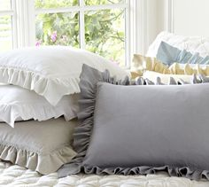 Linen Ruffle Shams | Pottery Barn