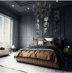20 Large Masculine Bedroom Ideas For Men Bedroom Paint Colors, Gray Bedroom, Modern Bedroom, Trendy Bedroom, Bedroom Classic, Eclectic Bedrooms, Masculine Bedrooms, Bedroom Neutral, Large Bedroom