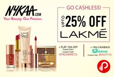Nykaa is offering Upto 25% off + Flat 10% off on #Lakme Products. Additional 10% #cashback from #MobiKwik.  http://www.paisebachaoindia.com/lakme-products-upto-25-off-flat-10-off-10-cashback-nykaa/