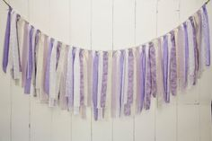 Burlap Lace and Linen Rag Tie Banner  Lavender by EleganceProps, $40.00