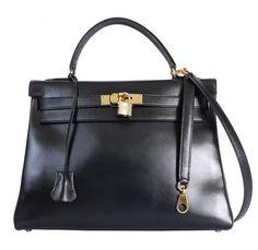 Hermes Black Box Calf Kelly Bag 32 Retourne