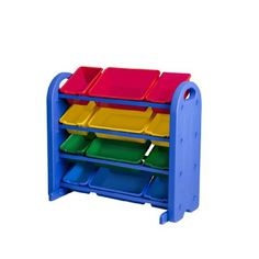 Primary Collection Purple/&Blue/&Green MAGDESIGNER Kids Toys Storage Organizer with Wheels Can Move Everywhere Large Basket Natural//Primary