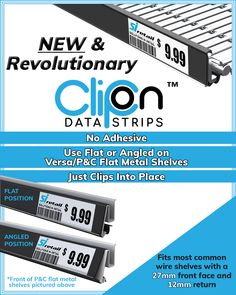 Clip-On Data Strips are the newest revolution for retailers! Wire Shelving, Metal Shelves, Shop Fittings, Retail Merchandising, Revolutionaries, Nom Nom, Adhesive, Positivity, Products
