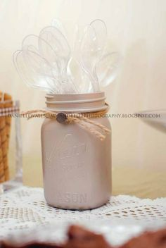 Spoons in a mason jar at an Ice Cream Party.  See more party ideas at CatchMyParty.com. #icecreampartyideas