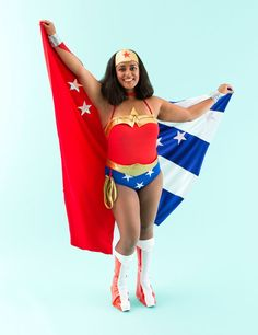 Save this easy DIY Halloween costume idea to turn into Wonder Woman.