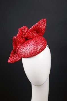 Marconi Designs Millinery 01 - Antique Sculptured Straw Strawberry-Red Fascinator / Hat, $230.00, September 2016