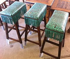 COWGIRL TURQUOISE BAR STOOL