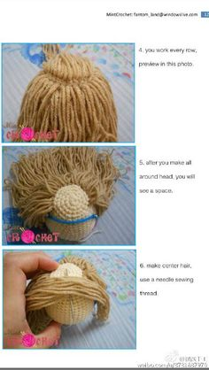 CROCHET - HAIR FOR DOLL - How to put hair on dolls. Abum on https://www.facebook.com/media/set/?set=a.1047449238601289.1073741875.932857906727090&type=3