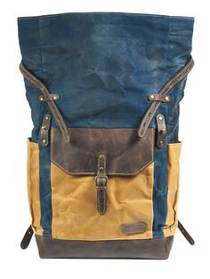 Beautiful waxed canvas and leather backpack. Navy blue color water-resistant  canvas body with 1ead31f58eac0