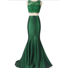 Floor Length Emerald Green Lace Mermaid Dress 2 Piece Embellished Crop Top With Taffeta Skirt Bride featuring polyvore fashion clothing dresses skirts black women's clothing mermaid prom dresses black mermaid gown mermaid bridal gowns black lace cocktail dress lace bridesmaid dresses