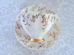 Vintage Teacup and Saucer with Pink Rose Buds by SwirlingOrange11
