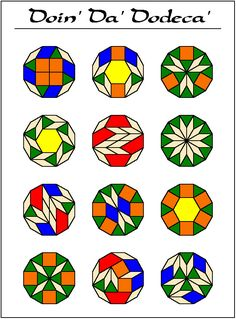 Some of the ways a dodecagon can be made from pattern blocks