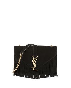 Monogram Small Suede Fringe Shoulder Bag, Black, Women's - Saint Laurent