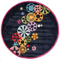 Momeni Lil' Mo Hipster Hand-Tufted Black Area Rug Rug Size: 8' x 10'