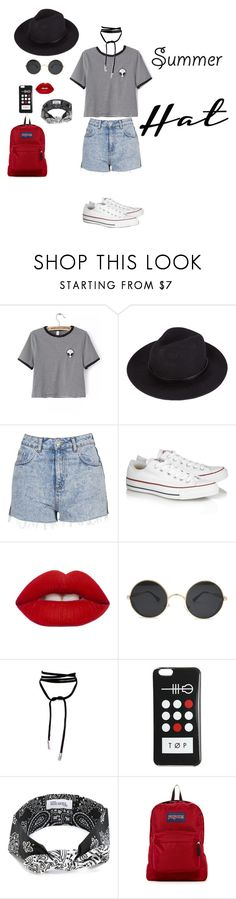 """"" by rawanmhammoud ❤ liked on Polyvore featuring WithChic, Topshop, Converse, Lime Crime, Maison Michel, JanSport and summerhat"