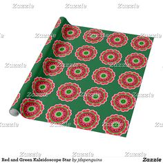 Red and Green Kaleidoscope Star Wrapping Paper