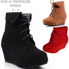Details about 5 Color Fashion Pumps Lace Up Girls Wedge Heels Kids ...